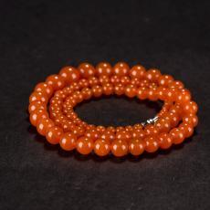 南红玛瑙圆珠项链(83颗) 46.6克