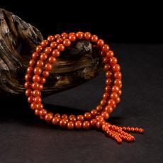 南红玛瑙圆珠手链(110颗) 57.9克