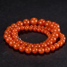 南红玛瑙圆珠项链(77颗) 58.2克
