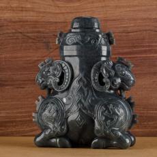新疆和田玉青花籽玉摆件 龙凤呈祥双羊尊瓶(高22CM) 2342克