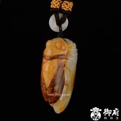 新疆和田玉黄皮白玉籽玉挂件 节节高升 20.1克