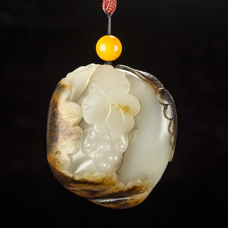 新疆和田玉褐皮白玉籽玉把件 和谐安康 96.7克