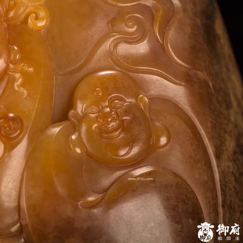新疆和田玉枣红皮黄沁籽料摆件 财福双至 982克