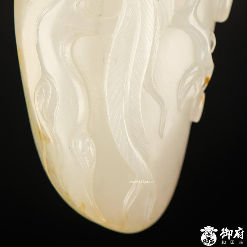 新疆和田玉黄皮白玉籽玉挂件 富贵长寿 47.4克