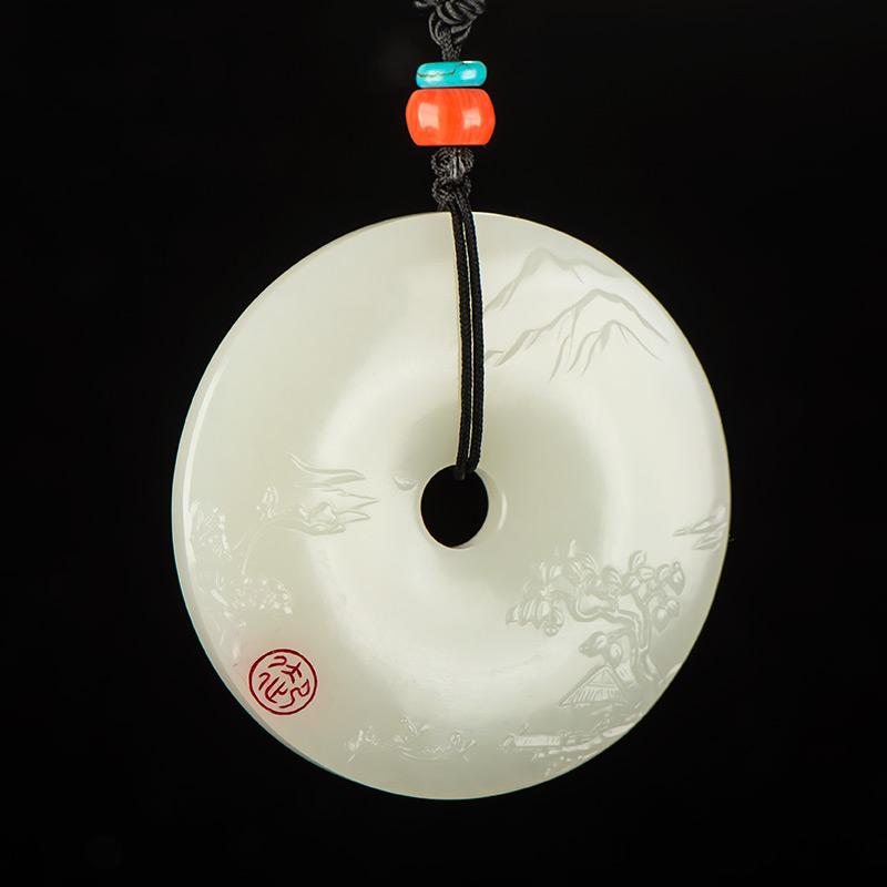新疆和田玉白玉籽玉把件 水韵江南 44.5克