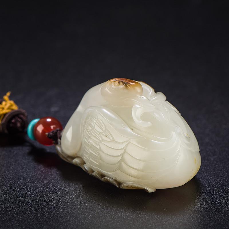 新疆和田玉褐皮白玉籽玉把件 鹅衔如意 55.8克