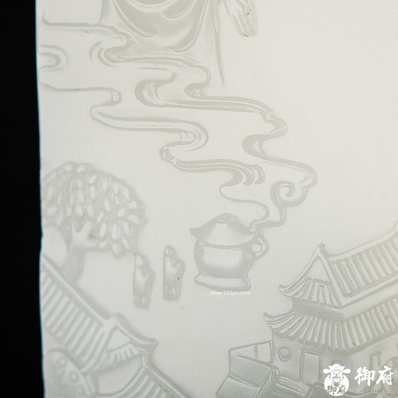 付雪飞工作室 新疆和田玉原毛孔皮一级白白玉籽玉玉牌 佛光普照 64.6克