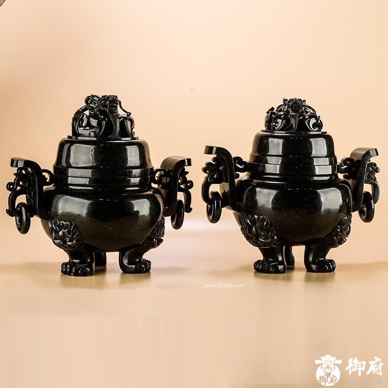 新疆和田玉青玉摆件 龙钮饕餮龙耳衔环炉(一对)共4642克