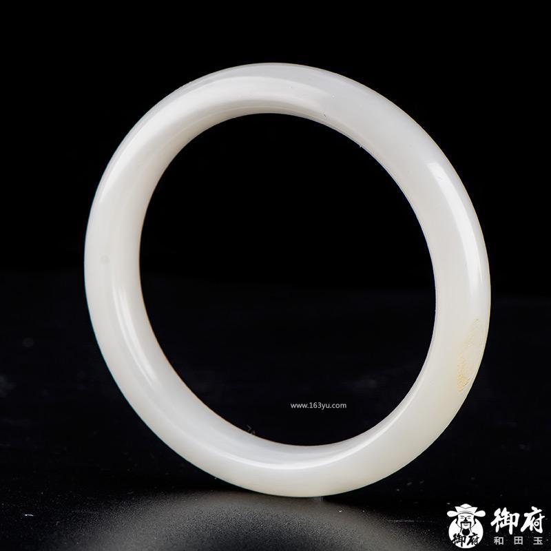 新疆和田玉黄皮白玉籽玉手镯 内径54.6mm 41.5克