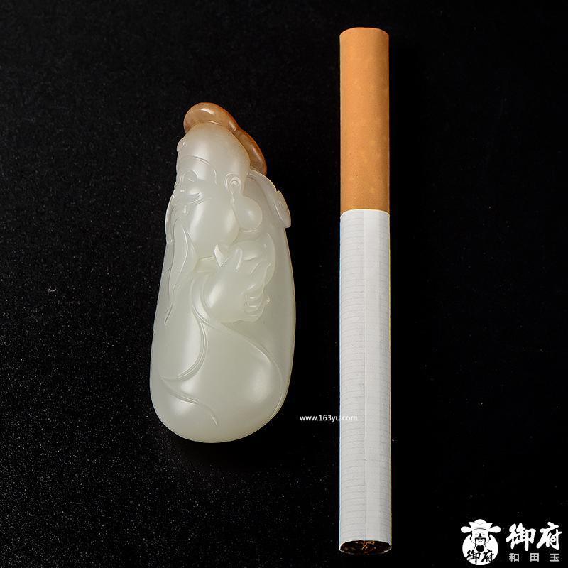 新疆和田玉枣红皮白玉籽玉挂件 如意财神 28克