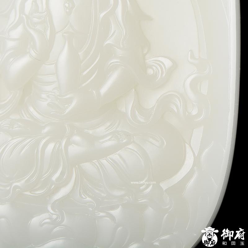 新疆和田原毛孔皮一级白白玉籽玉玉牌 托瓶观音 147.1克