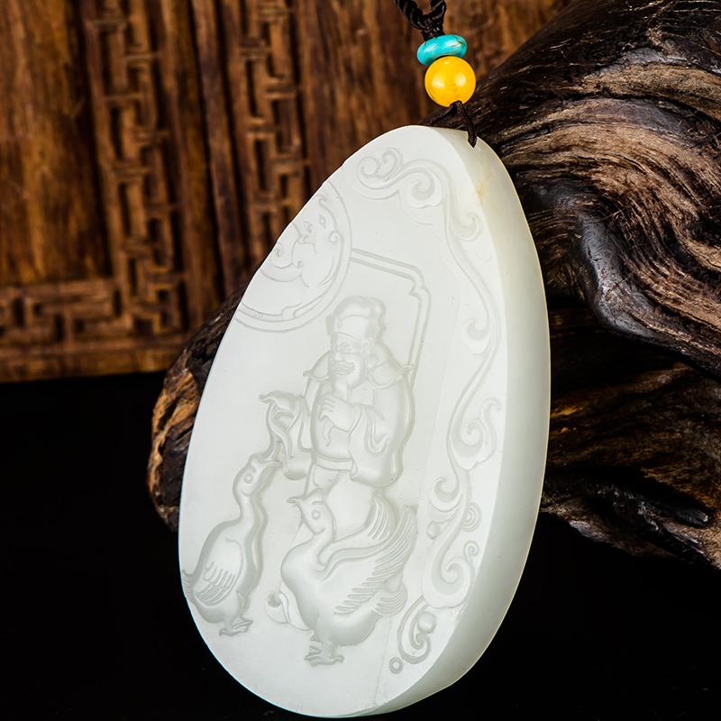新疆和田玉原毛孔皮白玉籽玉牌子 羲之爱鹅 80.3克