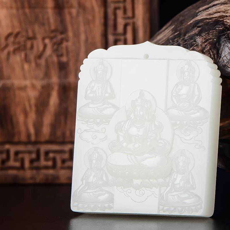 新疆和田玉原毛孔皮羊脂白玉籽玉玉牌 普度众生 76克