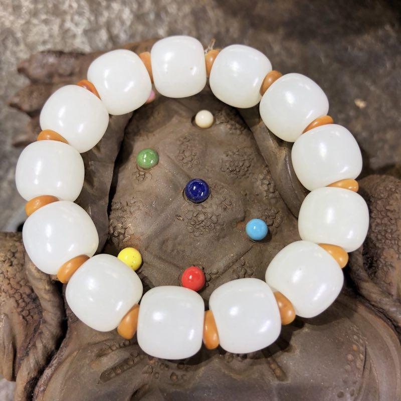 新疆和田玉羊脂白玉籽玉手链 隔珠手链14.6克