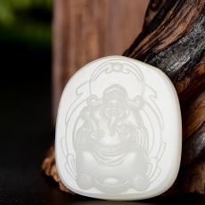 新疆和田玉原毛孔皮一级白白玉籽玉挂件 元宝财神 21.6克