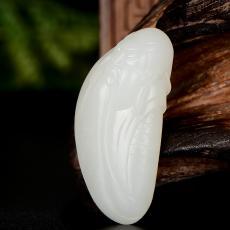 新疆和田玉原毛孔皮一级白白玉籽玉挂件 关公 17.5克