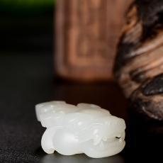 新疆和田玉白玉籽玉挂件 瑞兽呈祥 7.7克