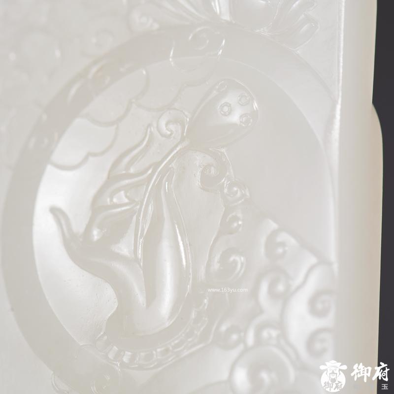 新疆和田玉白玉籽玉玉牌 莲花观音大士 46.6克