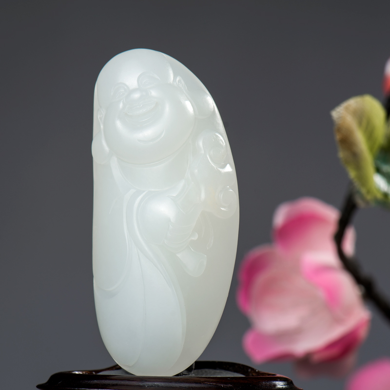 新疆和田玉原毛孔皮一级白白玉籽玉挂件 如意弥勒 23.4克