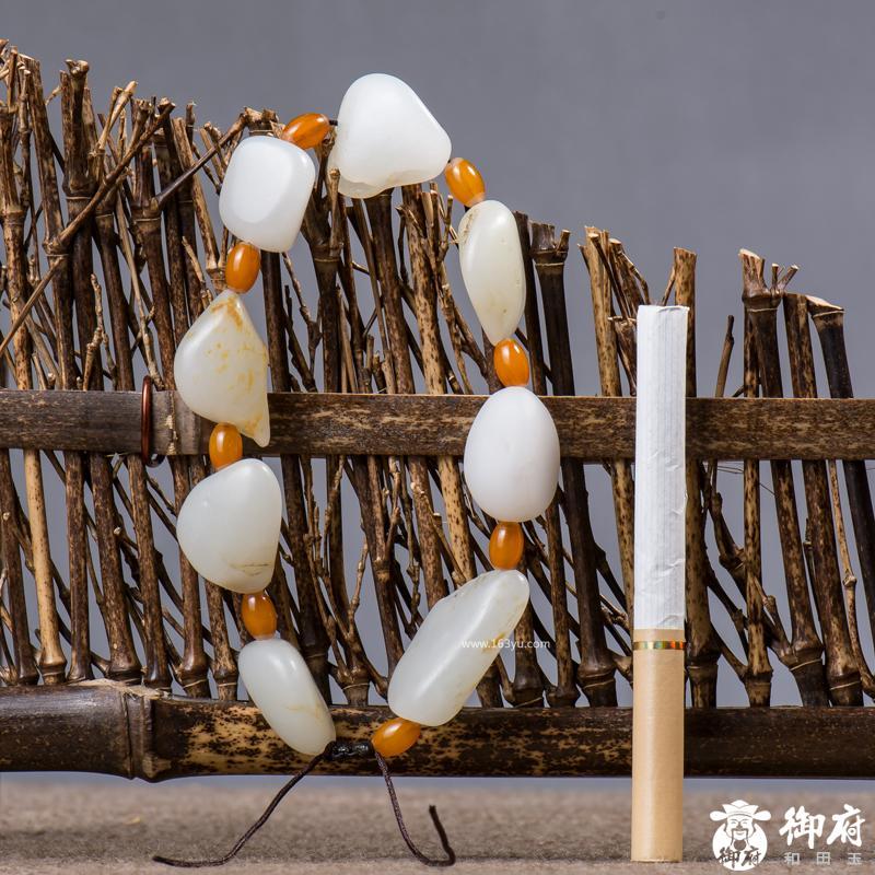新疆和田玉黄皮白玉籽玉 原石手链 38.3克