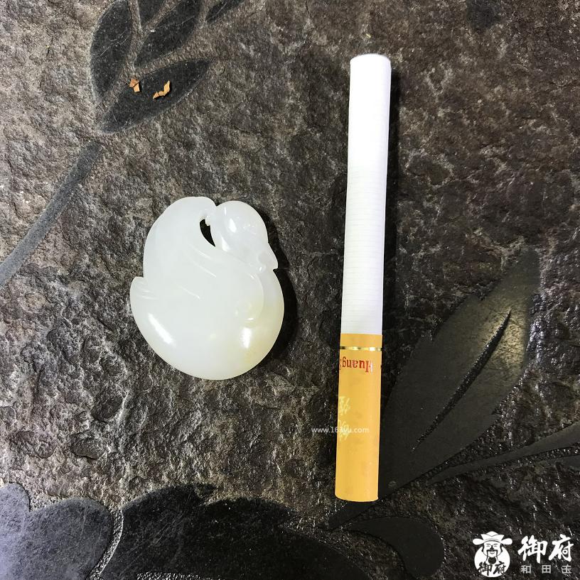 新疆和田玉黄皮一级白白玉籽玉挂件 小天鹅 15.3克