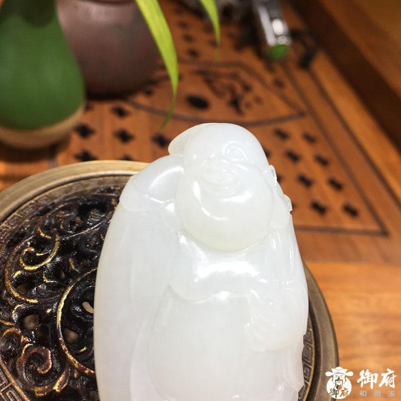 新疆和田玉白玉籽玉 持宝弥勒 44.6克
