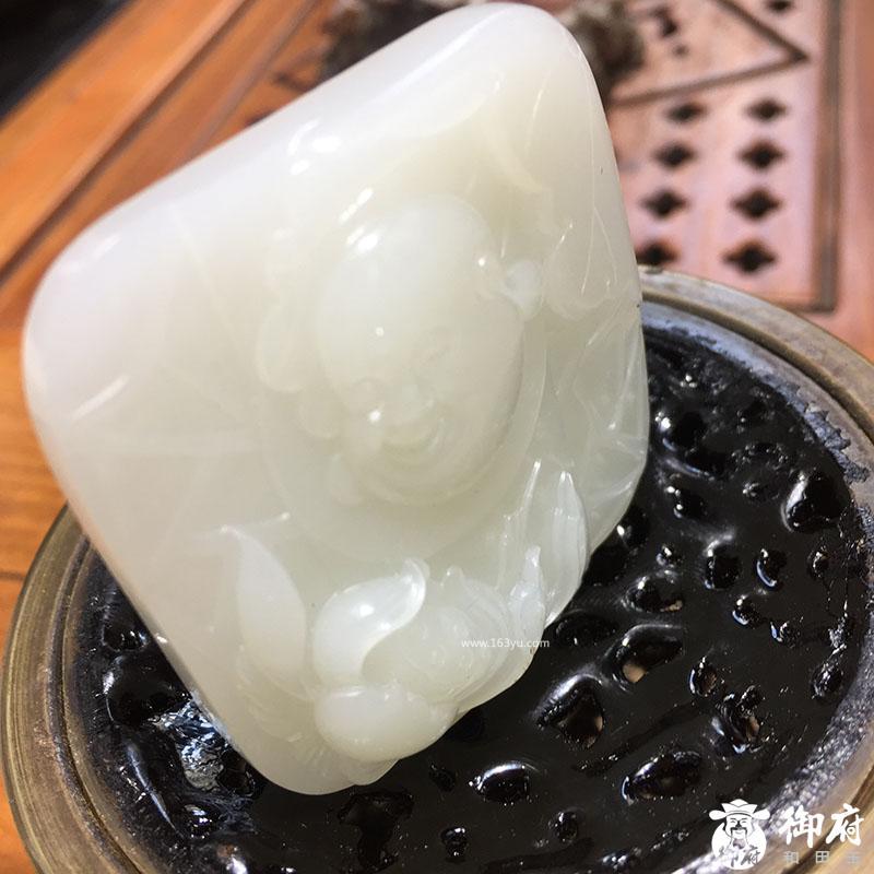 新疆和田玉白玉籽玉挂件 花开见佛 47.1克