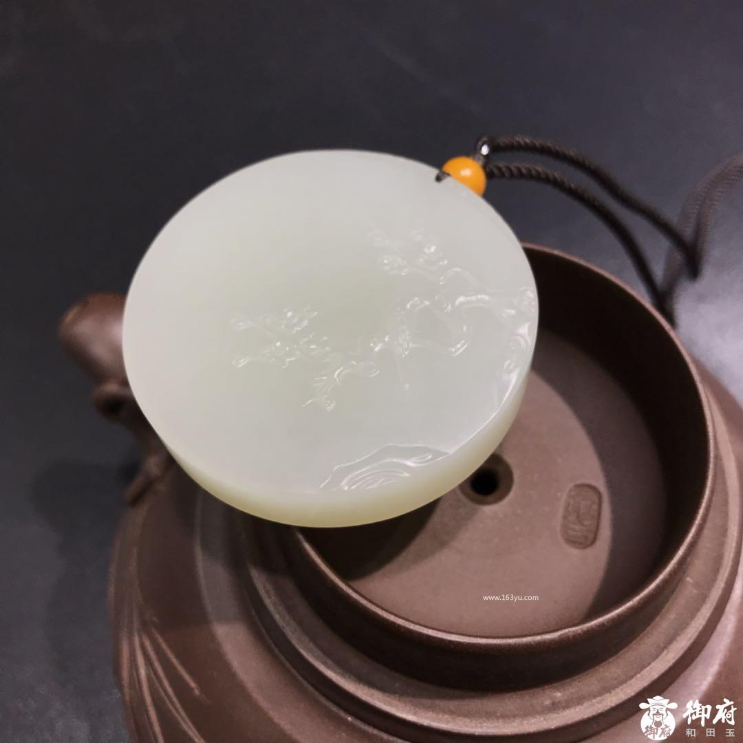 新疆和田玉籽料玉牌 喜上眉梢 46.8克