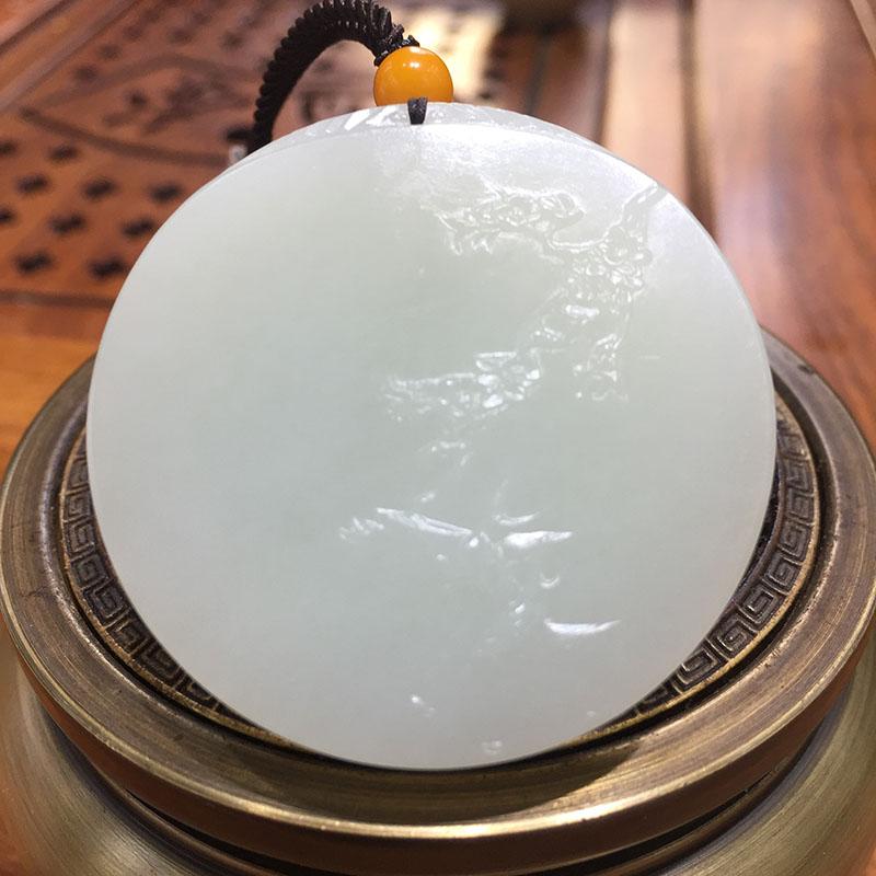 新疆和田玉白玉籽玉挂件 喜上眉梢 92.7克