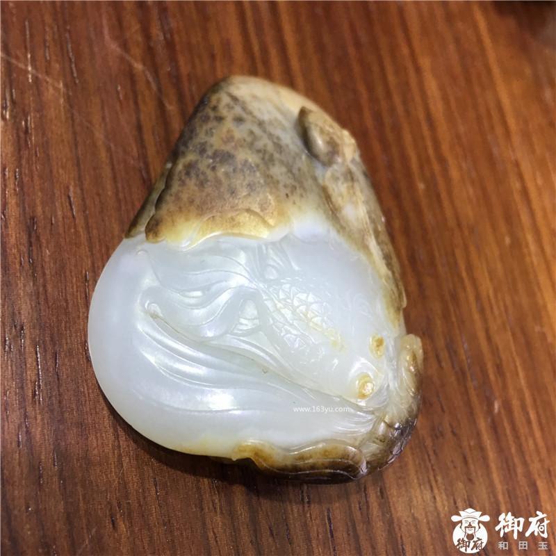 新疆和田玉虎皮白玉籽玉挂件 金鱼满堂 46.7克