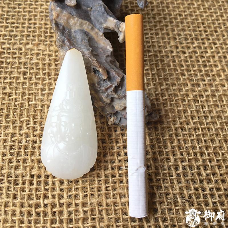 新疆和田玉洒金皮一级白白玉籽玉 三面观音 挂件 25.1克