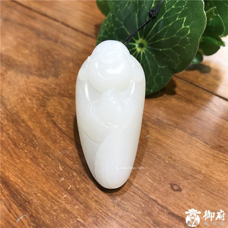 新疆和田玉原毛孔皮白玉籽玉挂件  一级白弥勒笑佛  24克