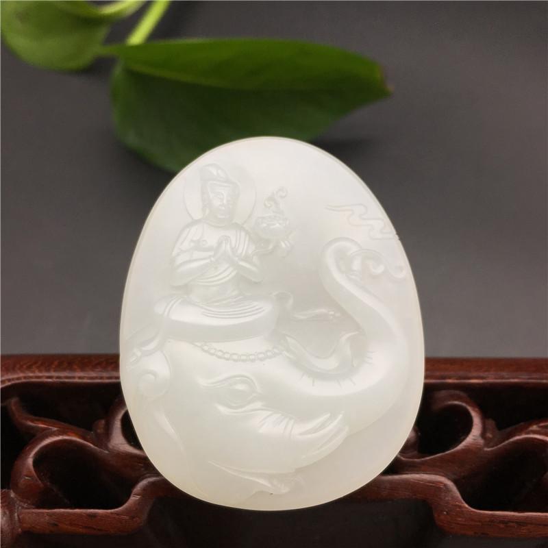新疆和田玉白玉籽玉挂件 普贤菩萨 20.5克