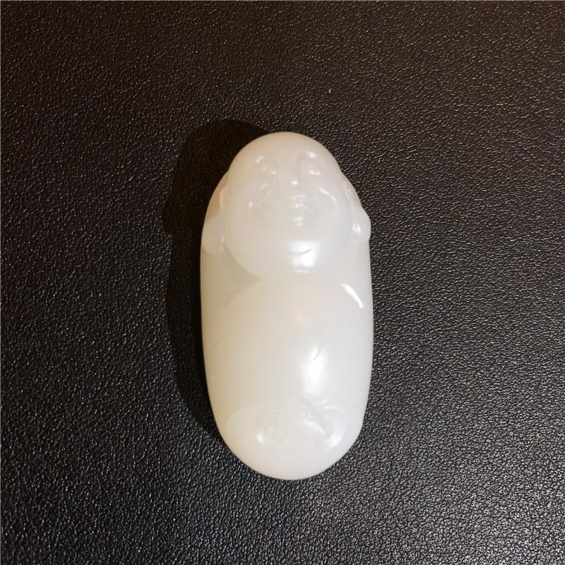 新疆和田玉羊脂白玉籽玉挂件 福在眼前 11.7克