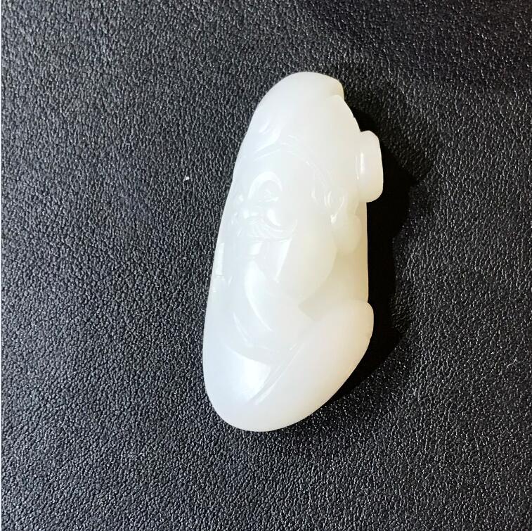 新疆和田玉白玉籽玉挂件 财神 9.6克