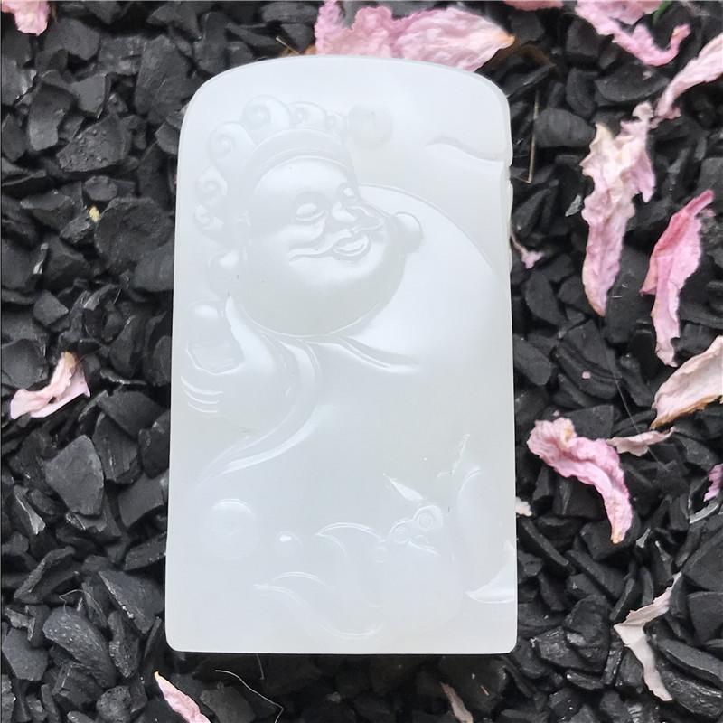 新疆和田玉羊脂白原毛孔皮白玉籽玉 财神 25.2g