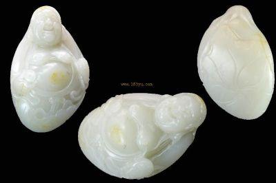 新疆和田玉白玉黄皮籽料大手件 刘海戏金蟾